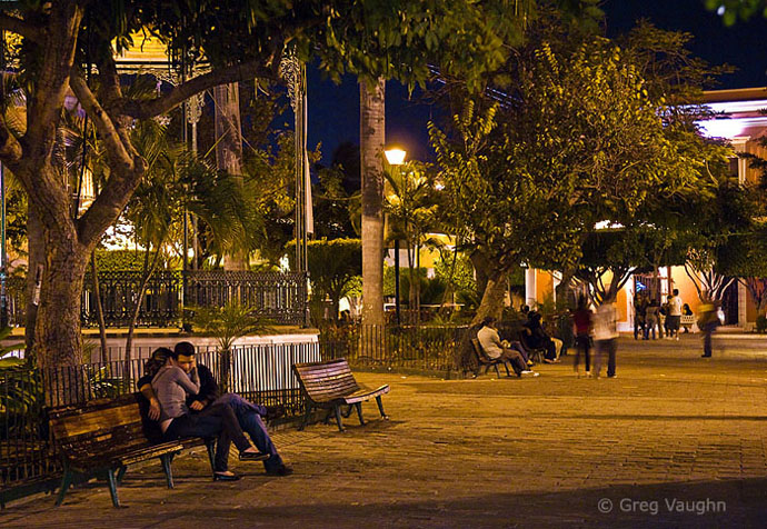 People enjoying Plaza Machado in the evening