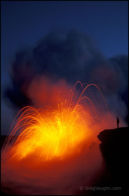 lava from the Puu Oo eruption explodes when it hits the ocean