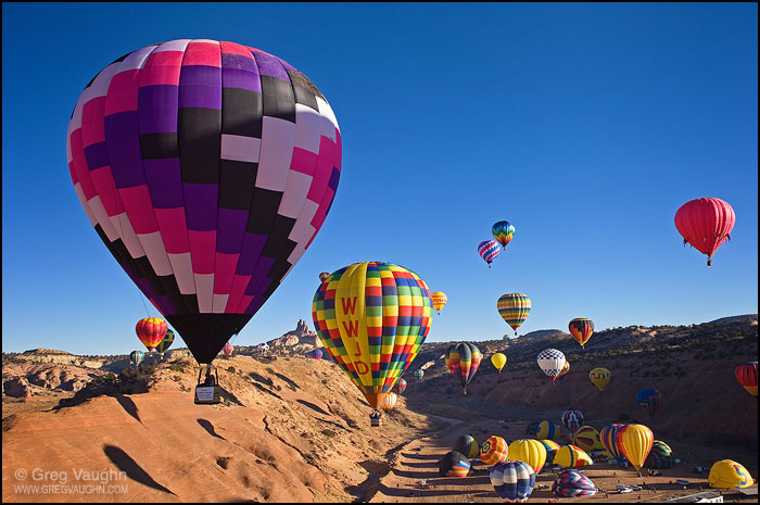 Hot air balloons ascending during Red Rock Balloon Rally