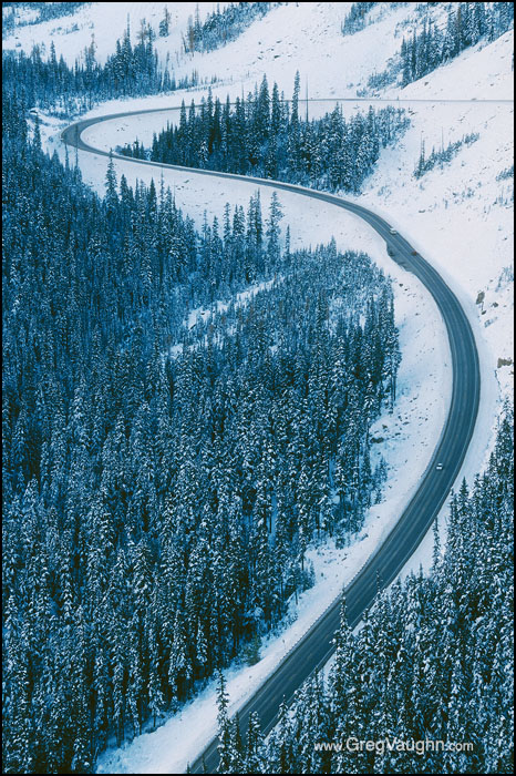 North Cascades Highway through Early Winters Valley with winter snow