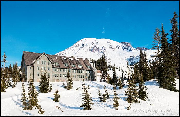 Paradise Inn, Mount Rainier National Park, in winter.