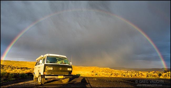 Rainbow over Volkswagon Westfalia camper van