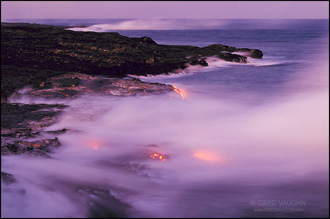 Lava from the Pu'u O'o eruption flowing into the ocean.