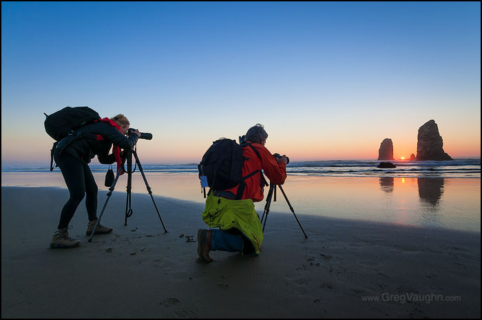 Photographing The Needles at Haystack Rock in Cannon Beach