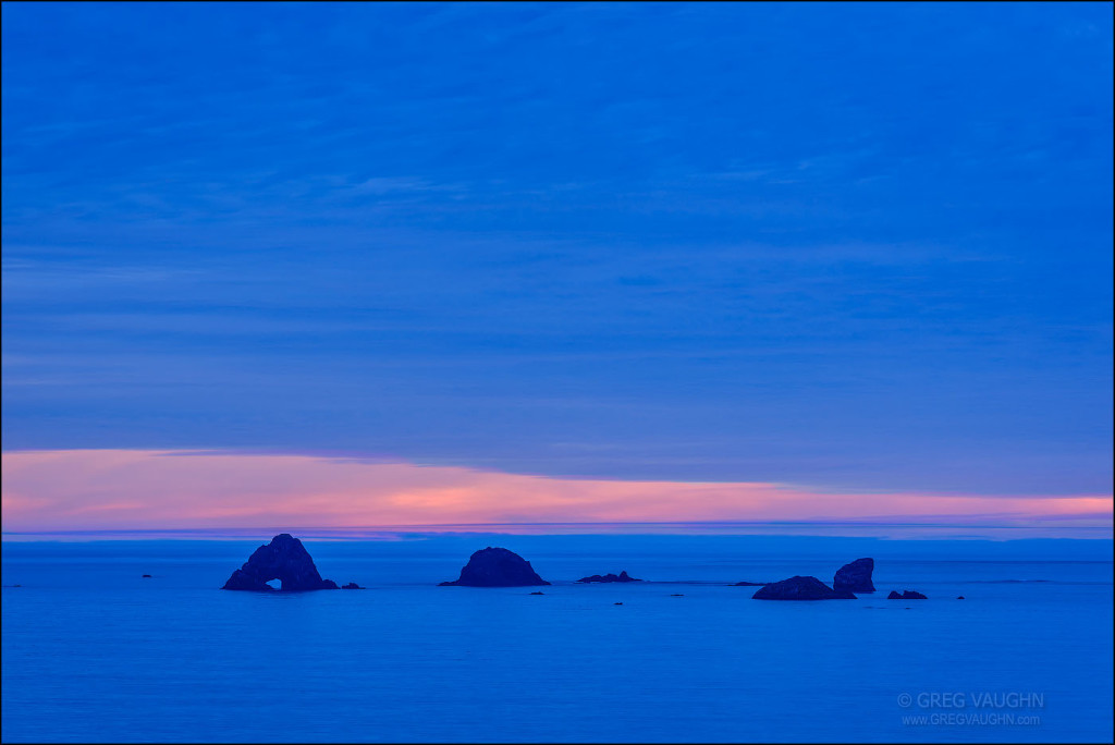 Ocean and sea stacks at dusk, from Cape Blanco, Oregon.