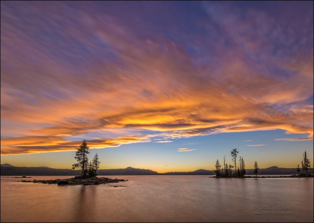 Sunset sky and clouds over Waldo Lake; Cascade Mountains, Oregon.