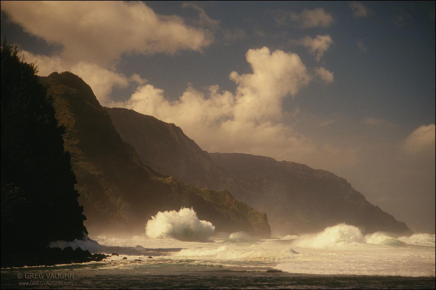 waves and cliffs of the Na Pali Coast, from Ke'e Beach