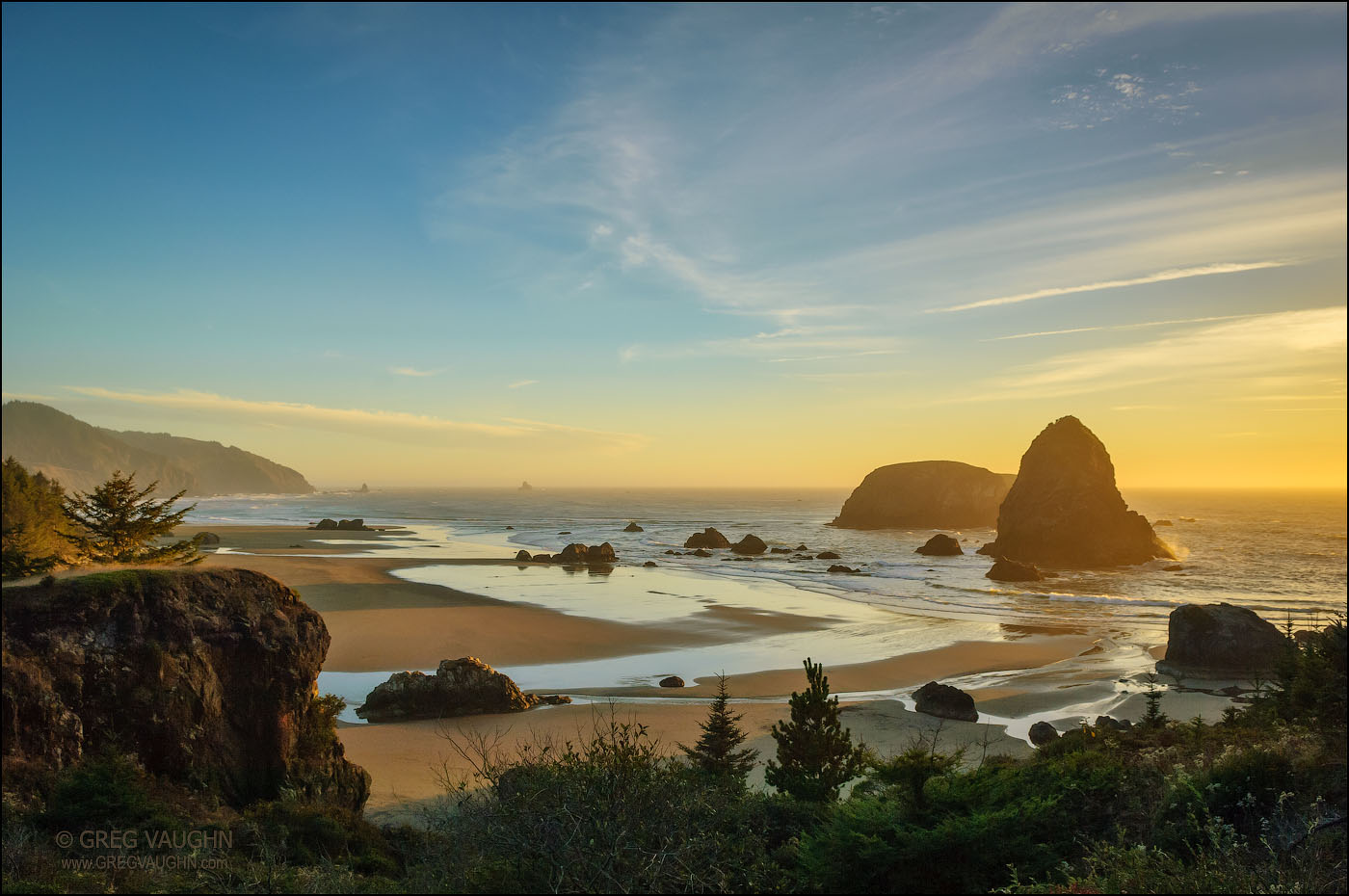 Sea stacks and sunset at Whaleshead Beach, Samuel H. Boardman State Scenic Corridor, southern Oregon coast.