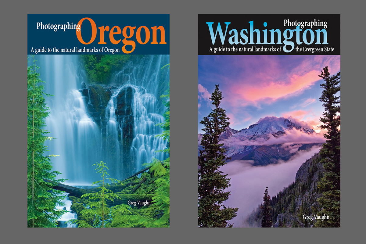 Photographing Oregon and Photographing Washington travel guide book covers